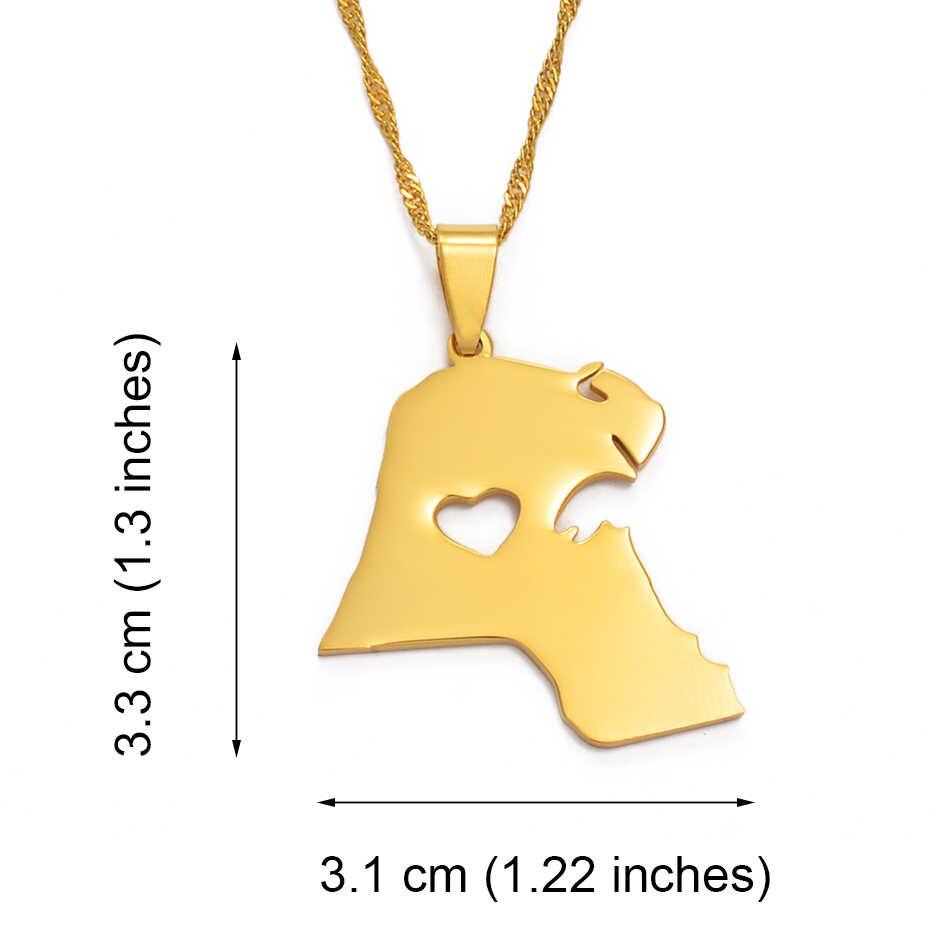 Anniyo kuwejt wisiorek naszyjnik dla kobiet/mężczyzn złoty kolor biżuteria mapie kuwejt #004721