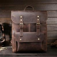 MAHEU Old Fashion Leather Backpack Men Women Ladies Real Cowhide School Backpack Genuine Cow Leather Bagpack Vintages Style