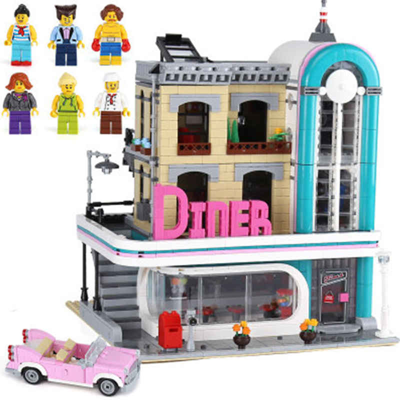 10260 Lepining Diners City Street Creator Expert Downtown 15037 2480Pcs Street View Model Building Blocks Bricks Kids Toys