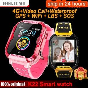 Image 1 - K22 4G لتحديد المواقع ساعة ذكية للأطفال IP68 مقاوم للماء واي فاي مكالمة فيديو كاميرا بمنبه الطفل الاطفال ساعة ذكية الهاتف الأطفال Smartwatch