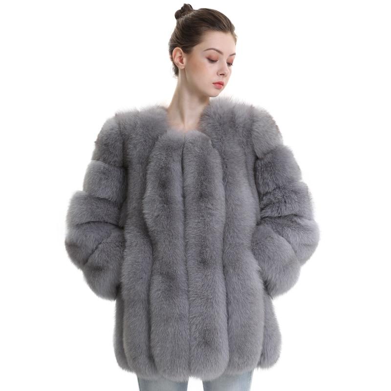 Fur Coat Winter Women Warm Fashion High Quality Ladies Long Fluffy Genuine Fur Jacket Female Real Fox Fur Coats