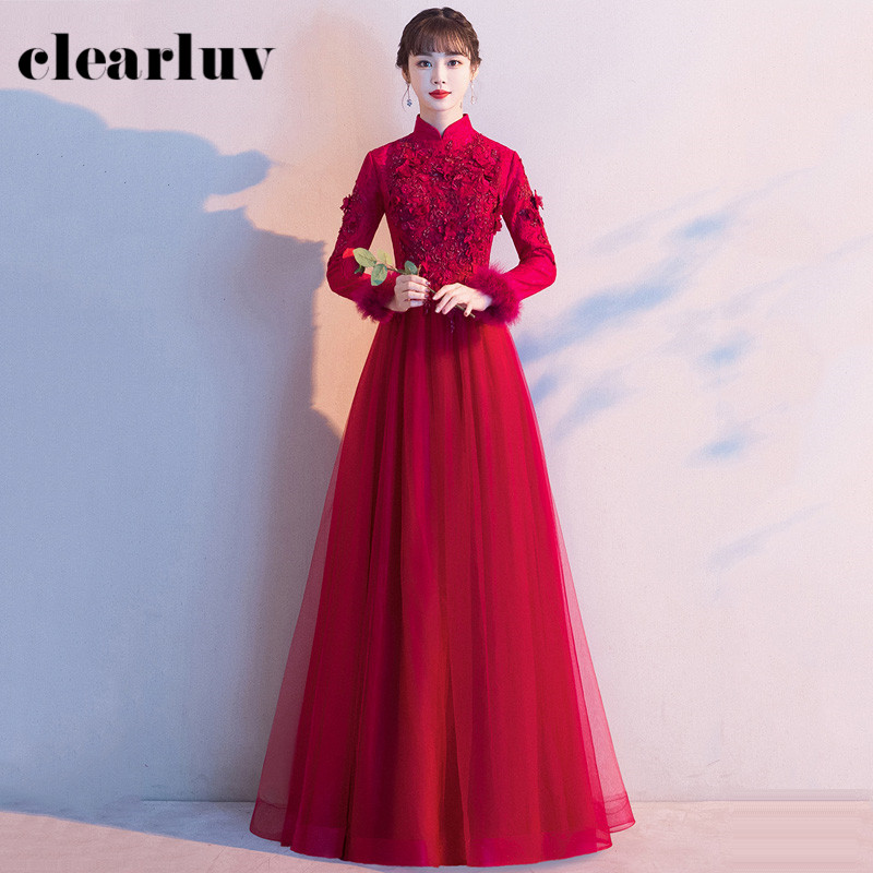 Formal Evening Dresses R217 High Collar Women Party Gowns Appliques Burgundy Robe De Soiree A-Line Long Elegant Dress 2020