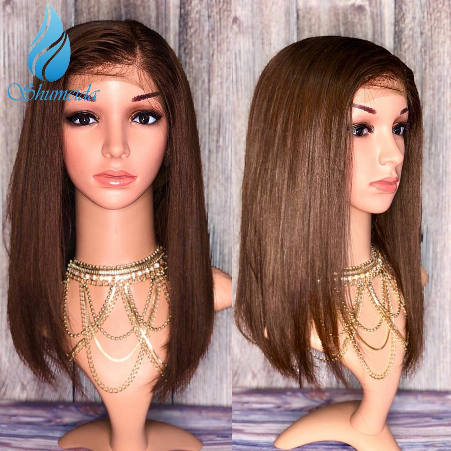 Cheap Brown Color 13*6 Lace Front Human Hair Wigs With Side Part 200% Density Brazilian Remy Hair Short Bob Wigs With Baby Hair