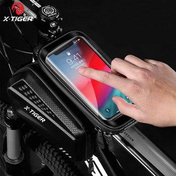 Bolsa de ciclismo a prueba de lluvia X-TIGER, reflectante, a prueba de golpes, para marco de bicicleta, funda frontal para teléfono, accesorios para bolsa de ciclismo de montaña 1