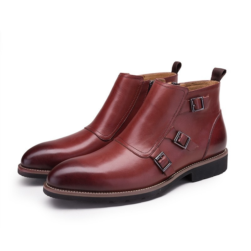 Brand Fashion Sewing Buckle Genuine Leather Boots Men Casual Pointed Toe Ankle Boots For Men High Quality  Boots Shoes New