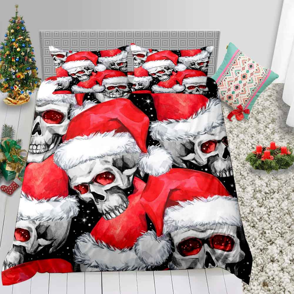 Thumbedding Skull Print Bedding Set 3D Christmas Duvet Cover Cottage Twin Full Queen King Western Festival Decoration Bed Set
