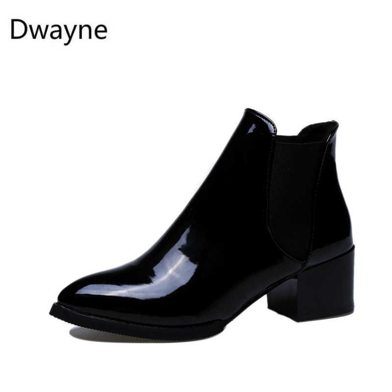 Dwayne sonbahar kadın tek çizmeler kare topuk martin bilekli çizme bayan motosiklet çizmeler sivri burun botları zapatos de mujer bo 89