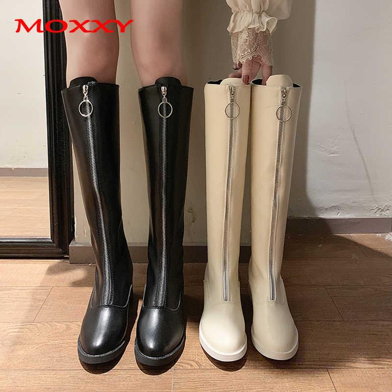 2019 neue Sexy Damen Schwarz Weiß Stiefel Frauen Zip Oberschenkel Hohe Stiefel Leder Plattform overknee Stiefel Schuhe Frau zapatos de mujer