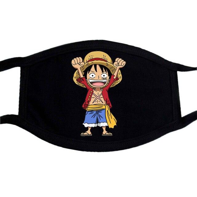 One Piece Mouth Mask Japnese Harajuku Streetwear Face Anime Maske Washable Black Keep Warm Mouth-Muffle Reusable Mask Kpop