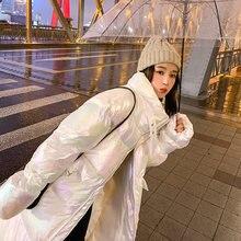 Длинная пузырьковая куртка для женщин зимняя модная трендовая