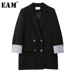 [EAM]  Women Black Split Joint Temperament  Blazer New Lapel Long Sleeve Loose Fit  Jacket Fashion Tide Spring Autumn 2020 1W807