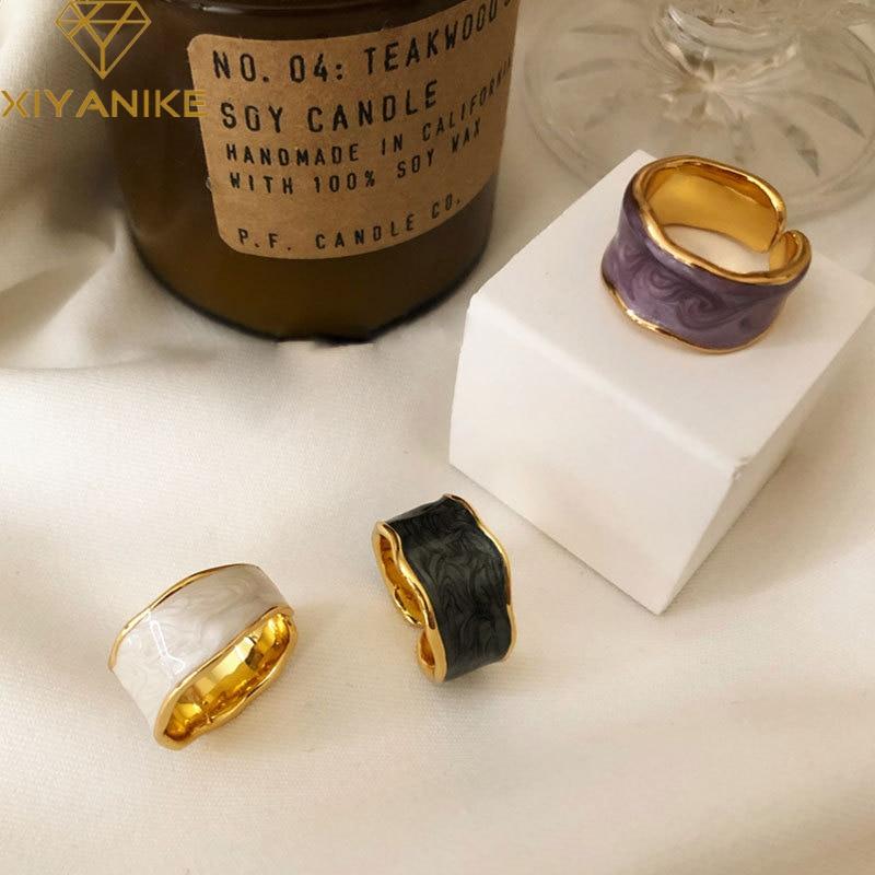 XIYANIKE 925 argent Sterling français Vintage incrusté or jante irrégulière lisse anneau de haute qualité à la main romantique mode Couple