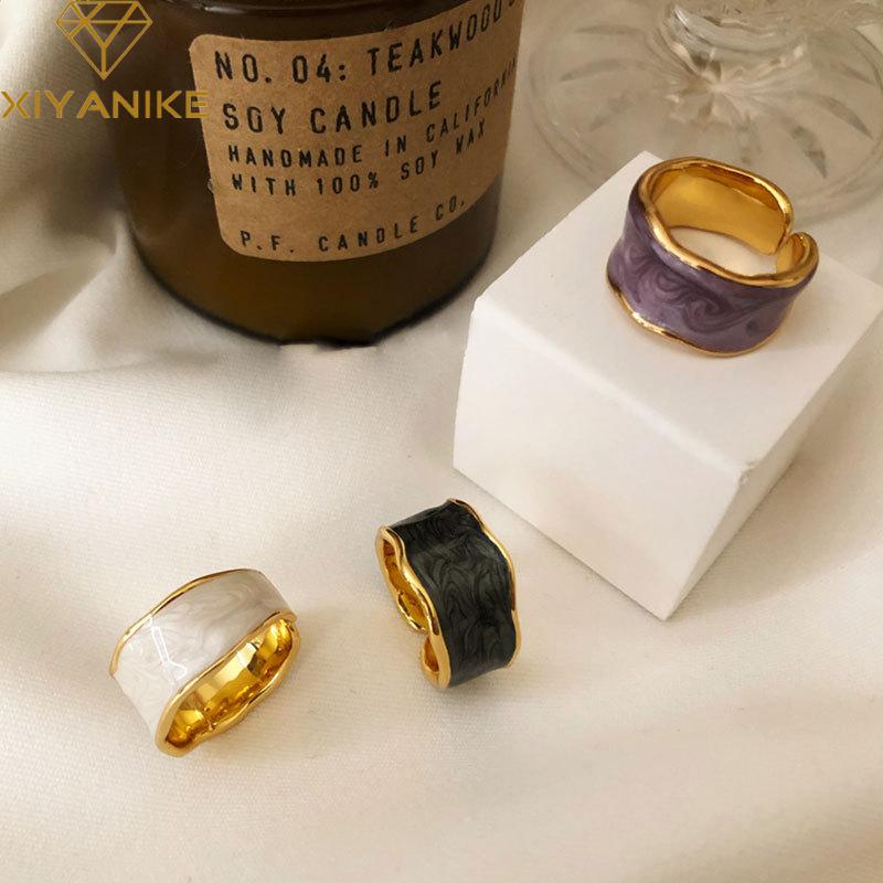 XIYANIKE 925 Sterling Silver French Vintage Inlaid Gold Rim Irregular Smooth Ring High Quality Handmade Romantic Fashion Couple