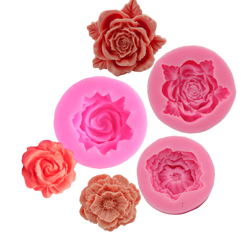 Rose Flowers Shape Silicone Mold Sugarcraft Cake Decorating Kitchen Tools DIY Fondant Chocolate Molds Cookies Baking Accessories