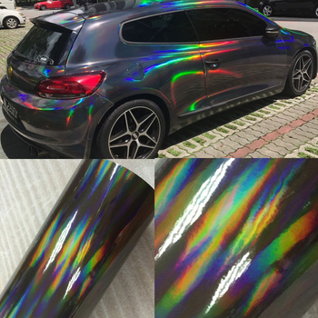 30cm*1/2/3/4/5/6M Holographic Laser Chrome Black Car Stickers Car Interior Body Wrap Vinyl Film Sheet Black with Rainbow Decals image