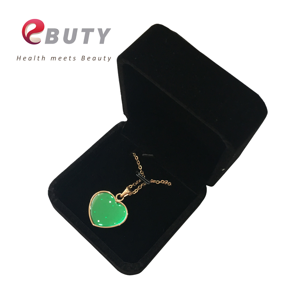 EBUTY BIO Glass Pendant 2000-2500CC Ions Heart Oval Fashion Elegant Women Jewelry Charms with Chain & Cloth Velvet Package