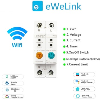 2P WIFI Energy Power kWh Meter  Circuit Breaker Time Timer Switch Relay Voltmeter Current Leakage Protection RCCB RCBO Limitter ewelink 2p wifi energy monitoring rcbo circuit breaker overload short current leakage protection with alexa and google home