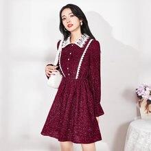 Осенне зимнее женское винтажное кружевное лоскутное платье с