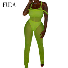 FUDA Sexy See Through Mesh Jumpsuits Women Summer Sleeveless Hollow Out Club Party Playsuits High Elastic 3-Pieces Bodysuits