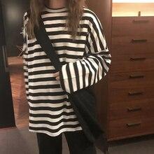 spring Autumn Women harajuku Striped Tshirt Long Sleeve O-Neck T-Shirts ulzzang Korean Casual oversized T Shirt Femme black Tops
