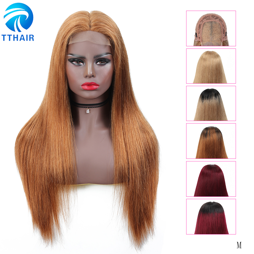 TTHAIR Straight 4x4 Lace Closure Wig Ombre Human Hair Wigs Transparent Lace Frontal Wigs Brazilian Remy Colored Brown Human Wigs