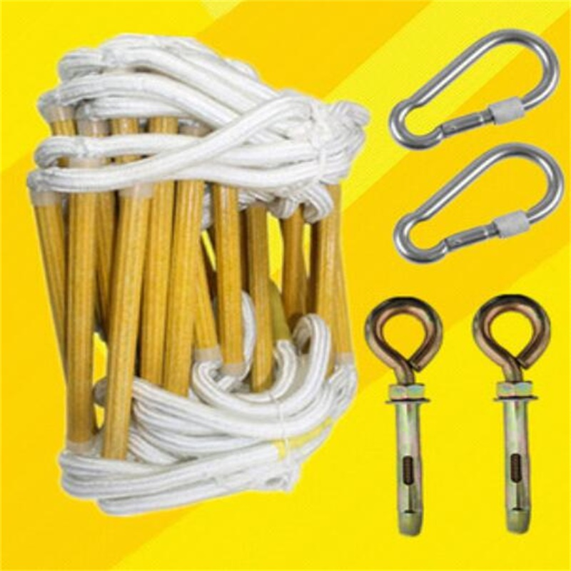 10m High Strength Resin Escape Rope Ladder Folding Step Ladder With Hook And Screw