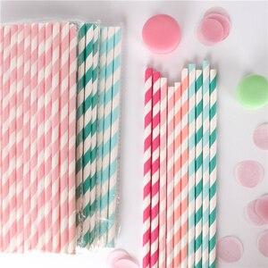 Image 1 - Pailles en papier pour boire, 100 pièces, vente en gros, à rayures, décoration de réception prénatale, cadeau et événements