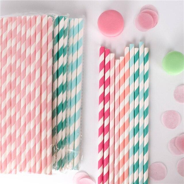 Pailles en papier pour boire, 100 pièces, vente en gros, à rayures, décoration de réception prénatale, cadeau et événements