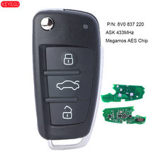 Keyecu 3 ボタンリモート車のキー 433 mhz アウディ A3 ため依頼 S3 2012-2015 と megamos aes チップ p/n: 8V0 837 220