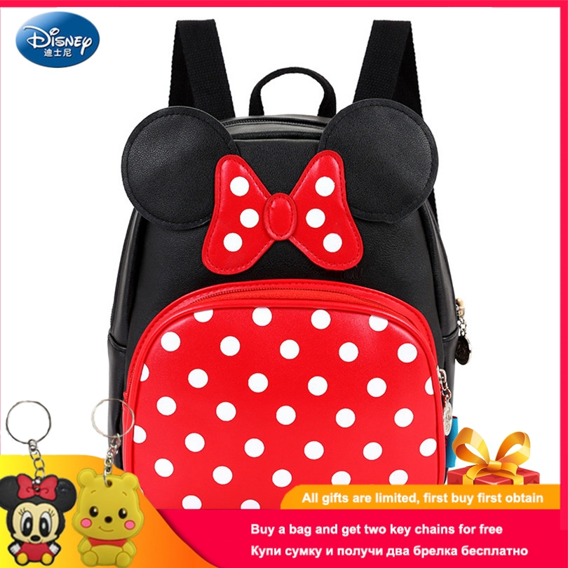 Disney Minnie Mickey Schoolbag 2019 Fashion Waterproof PU Schoolbag Bow Blue Face Girl Backpack Casual Schoolbag For Boys Girls
