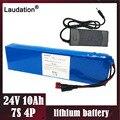 Laudation 24V 10ah батареи с 15A BMS 2A зарядное устройство 7S 4P 250W глубокий цикл аккумулятор для двигателя Электрический двигатель мощный