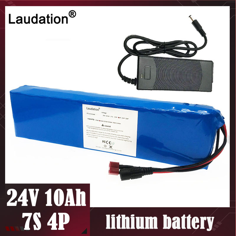 Laudation 24V 10ah <font><b>batteries</b></font> with 15A BMS 2A charger <font><b>7S</b></font> 4P 250W deep cycle <font><b>battery</b></font> <font><b>pack</b></font> for motor Electric motorcy Powerful image