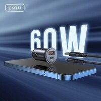 INIU PD 60W Auto Ladegerät 5A Dual USB LED QC Schnelle Ladung Typ C Telefon Adapter Für iPhone 12 11 XR iPad Sumsung Xiaomi Mi Huawei LG