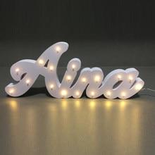 Nome personalizado de led, luz noturna para porta, decoração de parede, lâmpada de decoração de casamento
