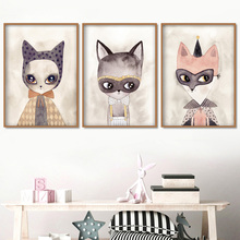 Watercolor Animals Fashion Cat Wall Art Canvas Painting Nordic Posters And Prints Pictures Kids Room Home Decor