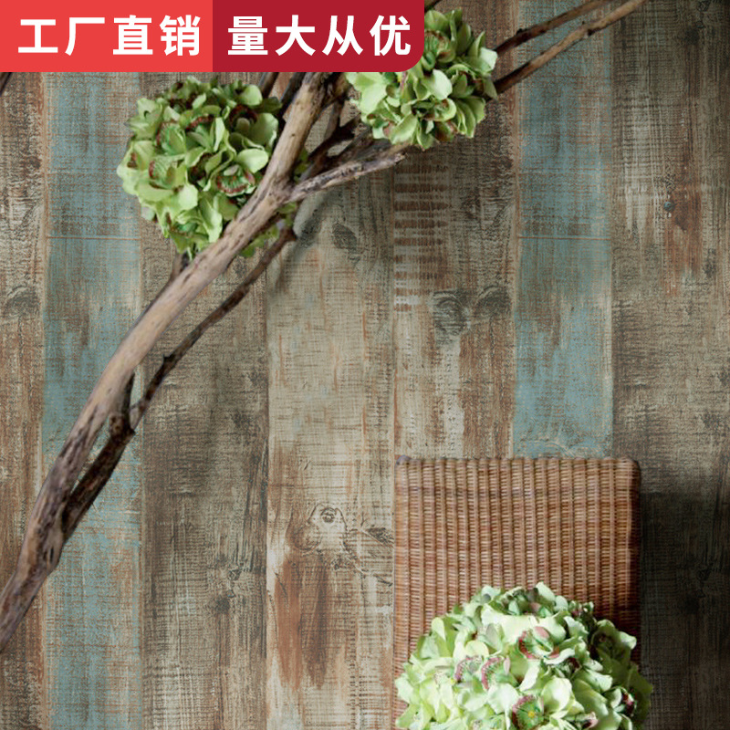 Bar Restaurant Clothing Store Salon Barber Shop Waterproof Industrial-Style Wallpaper Retro Nostalgic Vintage Wood Grain Wallpap