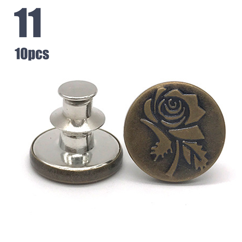 Newly 10pcs Retractable Jeans Button Adjustable Removable Stapleless Metal Button Zinc Alloy Round