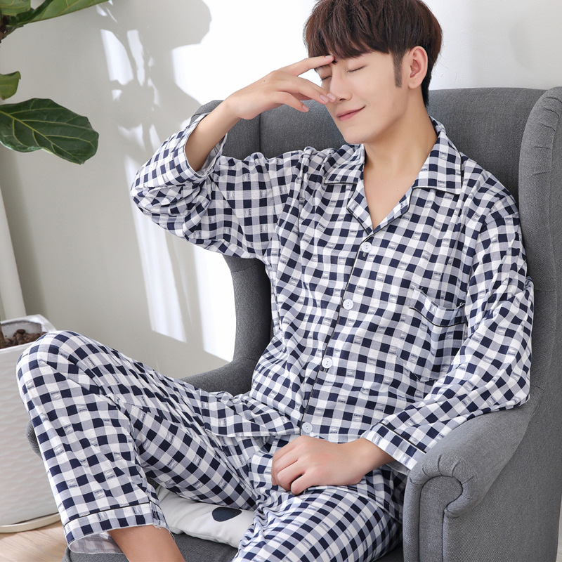 Pajamas Men Spring, Autumn And Winter New Style Cotton Long Sleeve Trousers Cardigan Knitted Pure Cotton Homewear Set 388