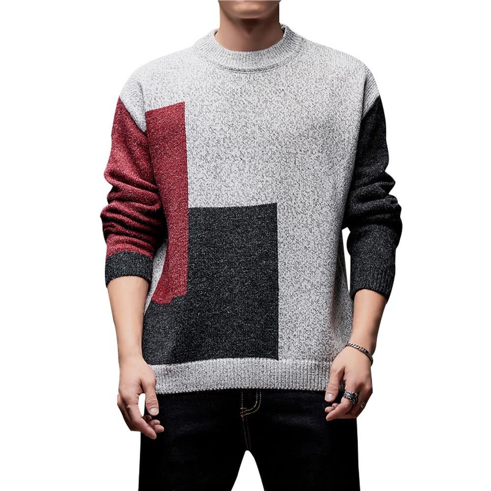 Korean Men Fashion Clothing Pullover Sweater Man Jumper Knitting Unlined Upper Garment Trend Autumn Winter Dress Pull Homme