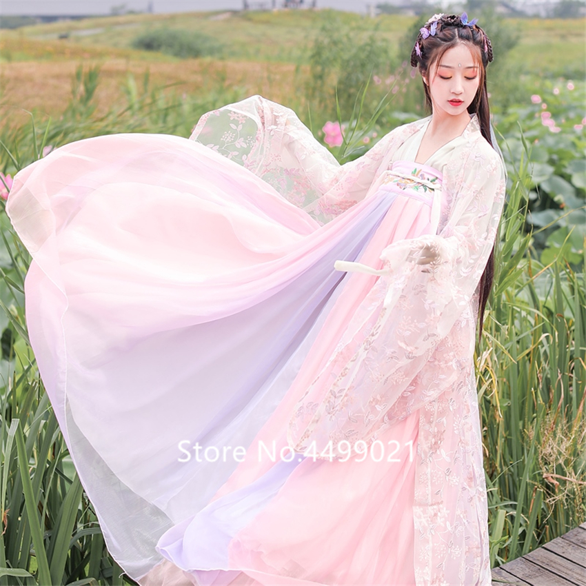 Asian Traditional Women Hanfu Costume Fairy Dress Chinese Folk Dance Clothing Set Retro Tang Dynasty Princess Cosplay Stage Wear