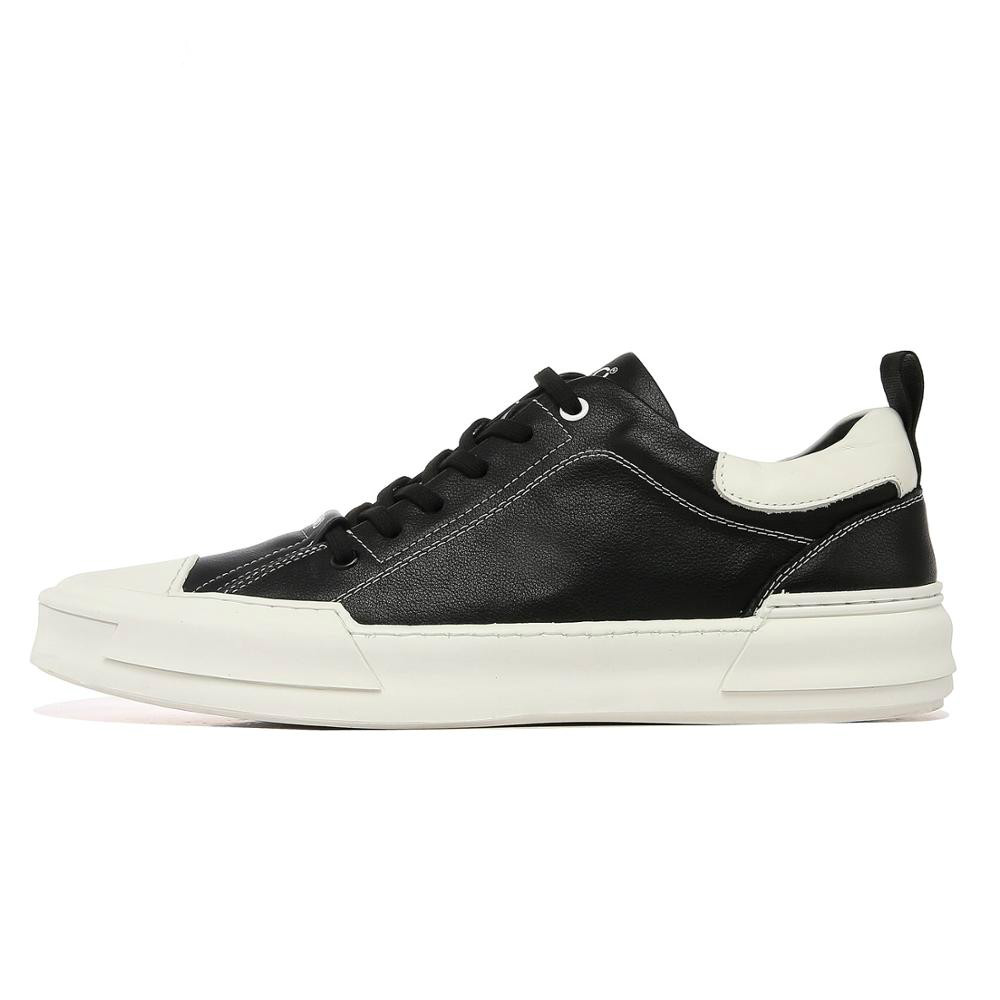 Ecco Men's Leather Shoes Genuine Leather Men Casual Shoes Male Lace-up Height Increased Footwear High Cut Comfortable 880302