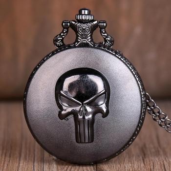 Anime nuevo Punisher cráneo de cuarzo relojes de bolsillo collar reloj de bolsillo con cadena para hombre mujer antiguo reloj Unisex mejores regalos