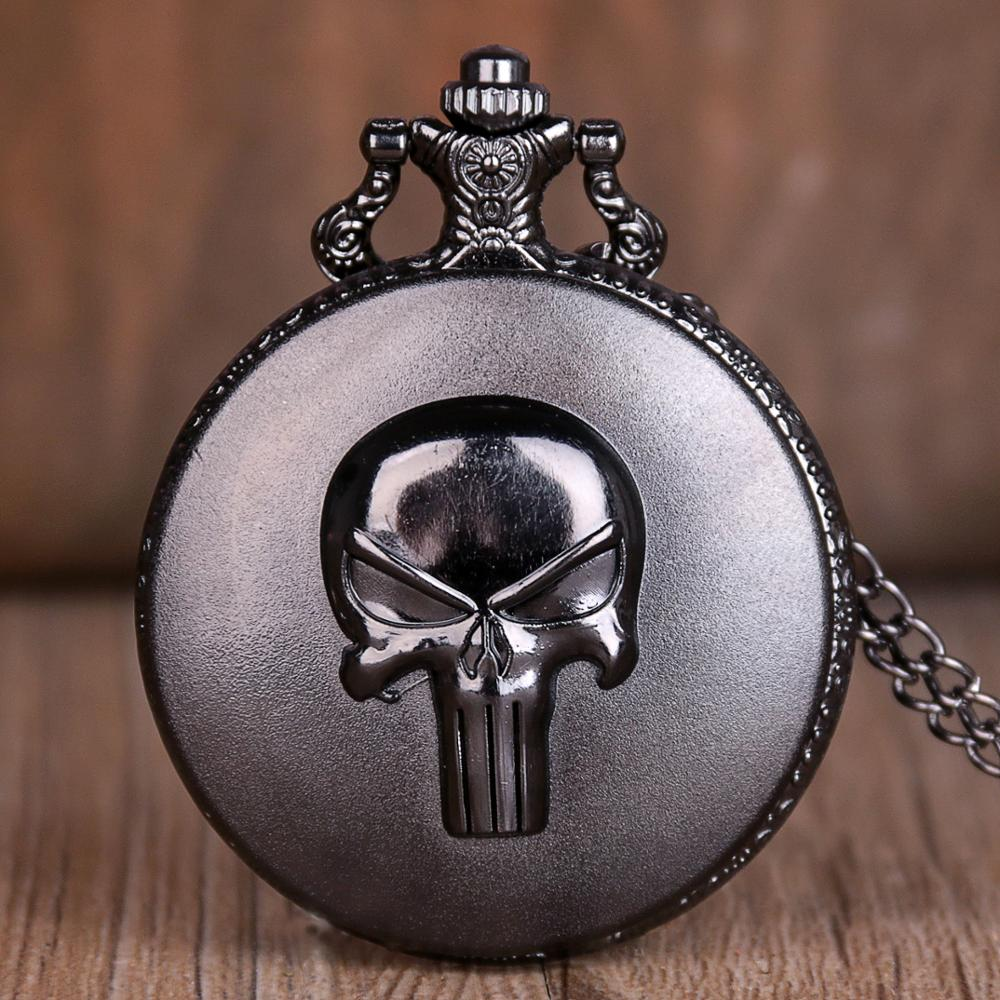 New Anime Punisher Skull Quartz Pocket Watches Necklace Chain Pocket Watches For Mens Womens Antique Unisex Watch Best Gifts