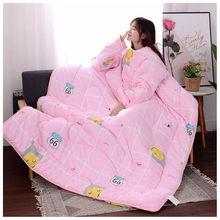 Edredón de invierno grueso y cómodo, manta cálida estampada, mantas para adultos y niños, para camas, viajes con mangas