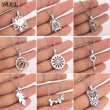 SMJEL Punk Beetle Albanian Eagle Necklace Pendants Women Stainless Steel Jewelry Cat Leaf Girl Collares femme Wholesale