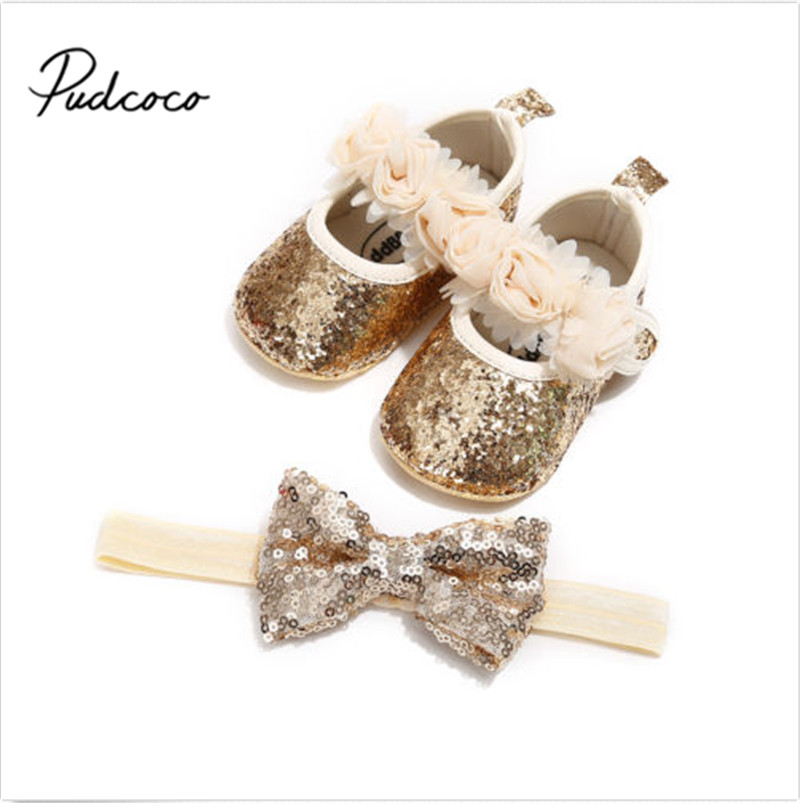Pudcoco Newborn Infant Baby Girls Boys Summer Crib Shoes 3 Style Sequined Floral Flat Hook Princess Shoes+Headband 2PCS