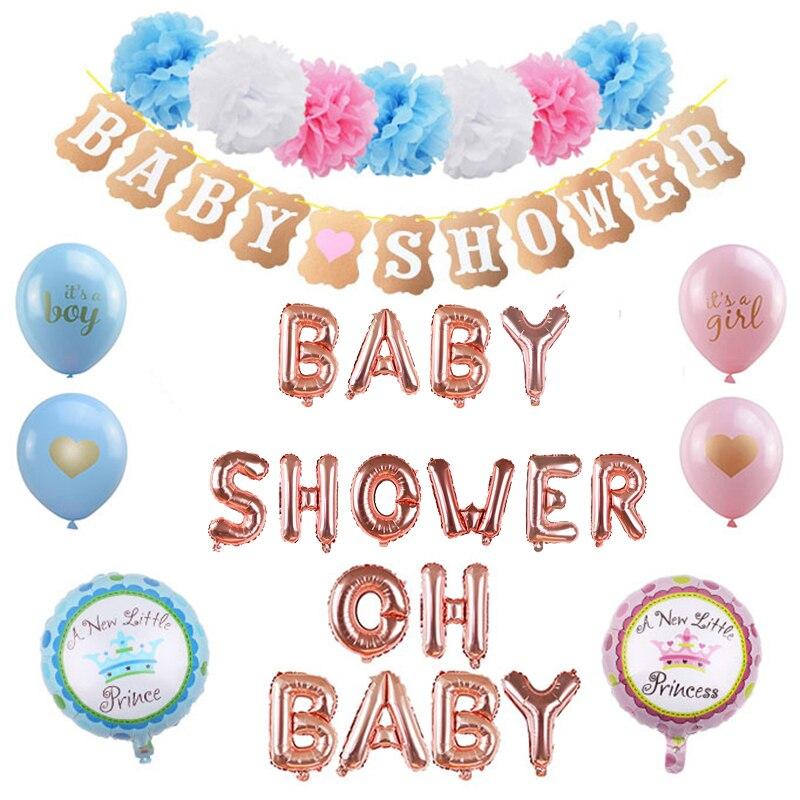 Baby Shower Boy Girl Sashes Unisex Balloons Banner Christenig Baptism Party Deco