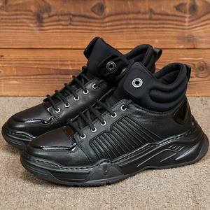Image 1 - 100% Real Leather High Top Shoes Men Brand Platform Height Increasing Ankle Boots Street Lace Up Hip Hop Casual Black Shoes