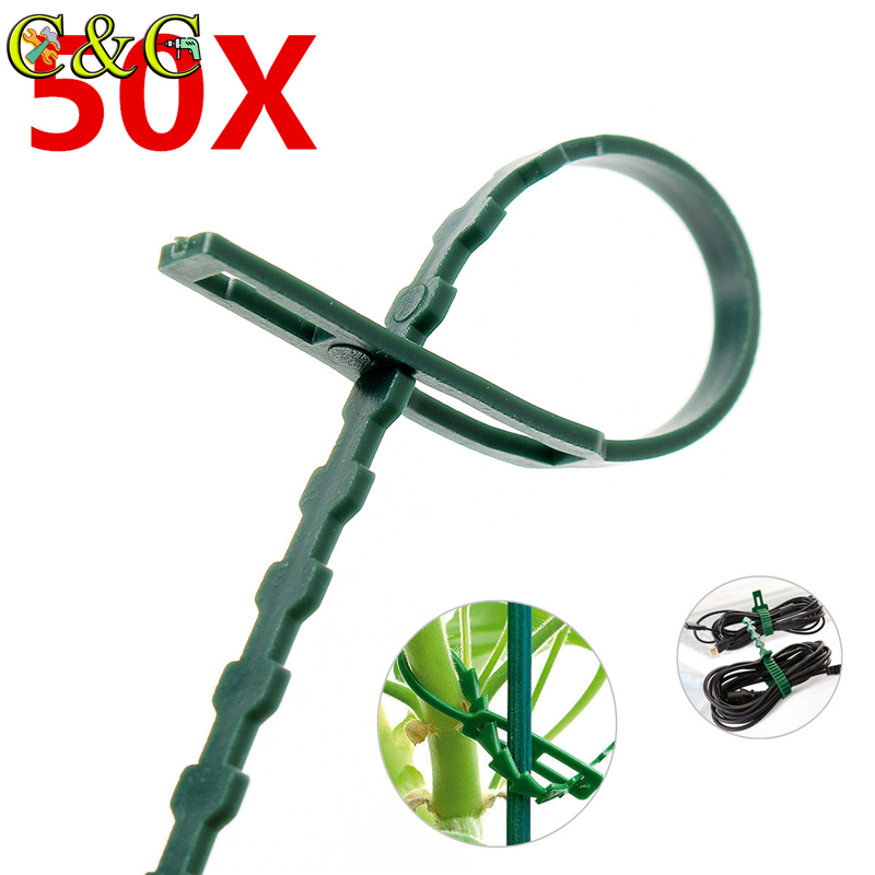 50Pcs/lot Reusable Various Usage Garden Plastic Plant Cable Ties Straps Adjustable Tree Climbing Support