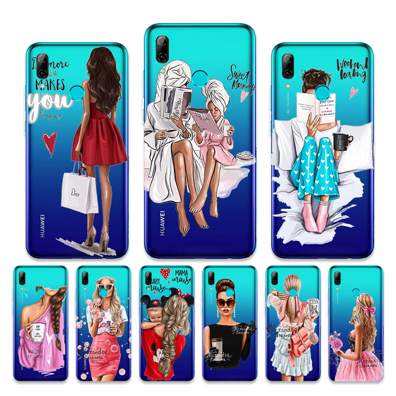 For <font><b>Huawei</b></font> <font><b>P</b></font> <font><b>Smart</b></font> <font><b>2019</b></font> <font><b>Case</b></font> Baby Girl Fashion Mom Luxury Cover For <font><b>Huawei</b></font> P10 Lite Plus <font><b>Cases</b></font> Nova 5 T 3i Transparent Psmart Z image
